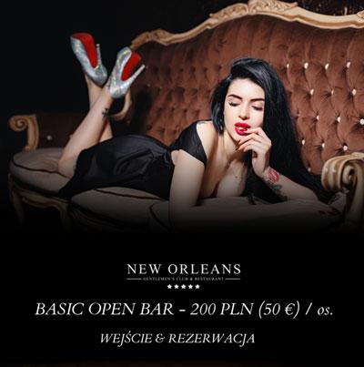 Open bar w New Orleans Warszawa promocja